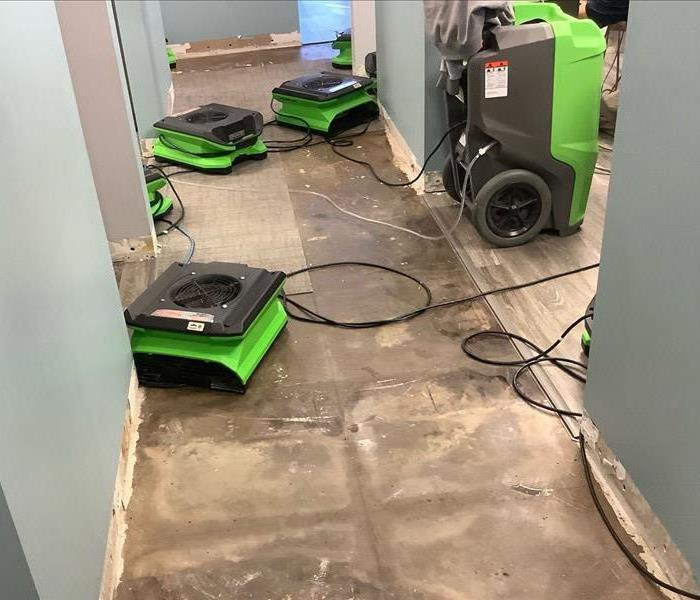 flooring removed and equipment set