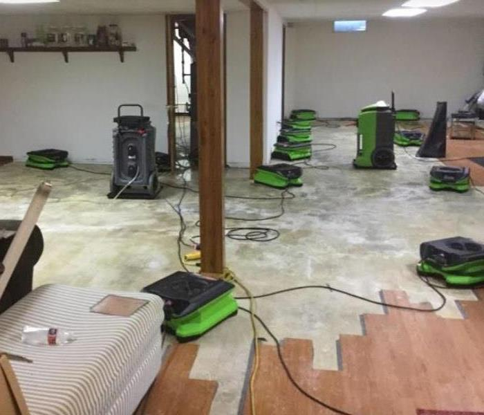 hardwood floor removed and equipment set