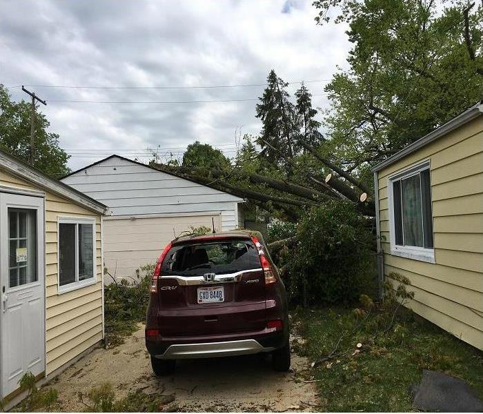 Tree Damage to Garage and Car in Northeast Columbus Before