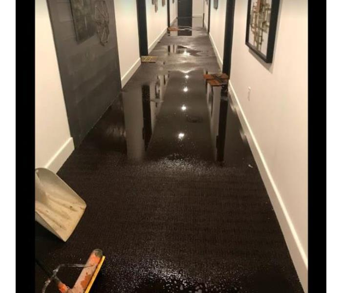 flooding in hallways of commercial building