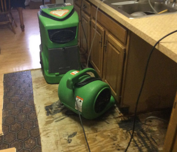 equipment set up after water damage in kitchen
