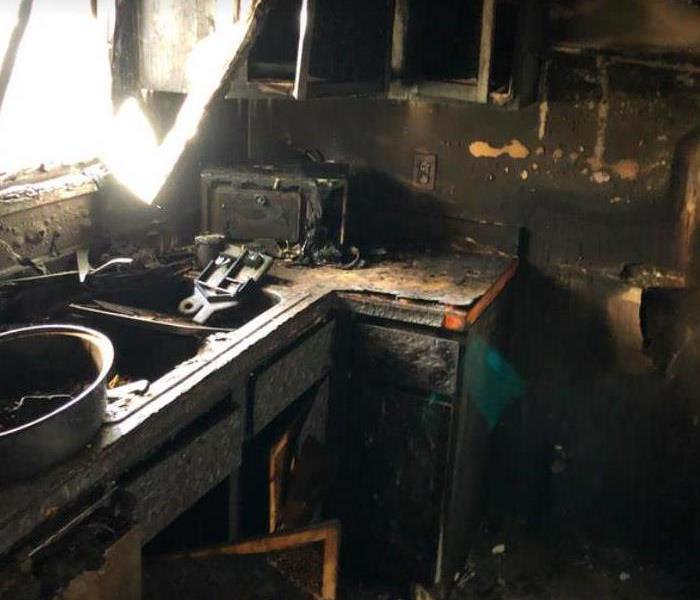 kitchen badly burned after a fire